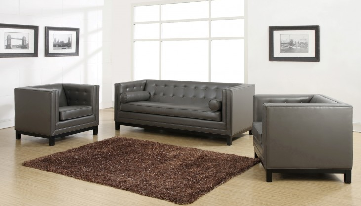 Zoe Gray Bonded Leather Living Room Set