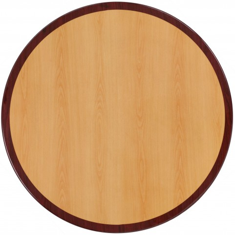 "24"" Round Two-Tone Resin Cherry and Mahogany Table Top"
