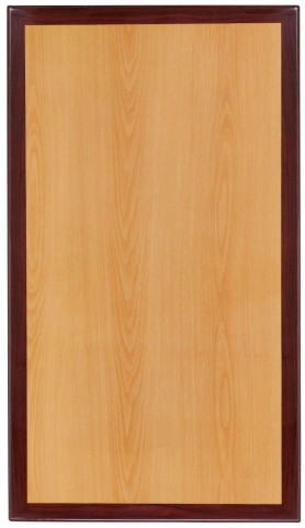 "42"" Rectangular Two-Tone Resin Cherry and Mahogany Table Top"