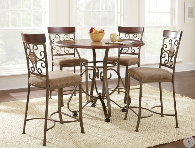 Thompson Warm Cherry Round Counter Height Dining Room Set