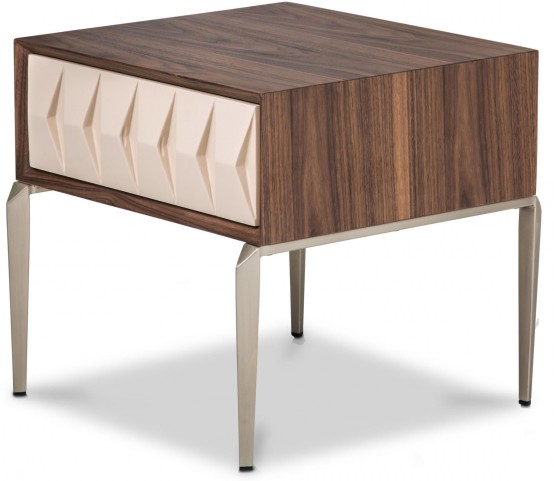 Trance Elan Brown and White End Table