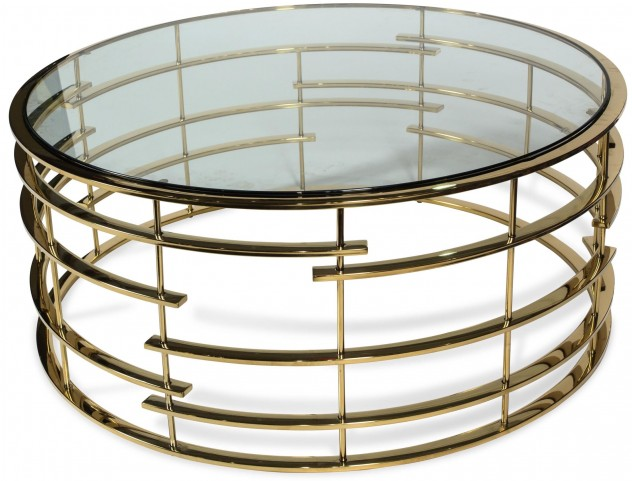 Trance Plexus Gold Base Round Cocktail Table