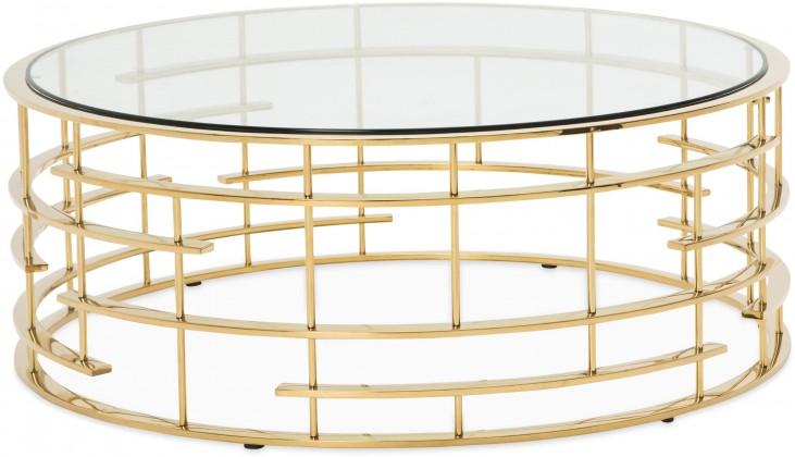 Trance Plexus Gold Base Round Cocktail Table