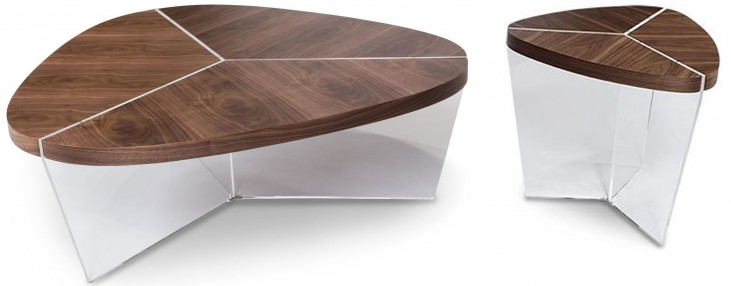 Trance Sector Brown Short Triangular Occasional Table Set