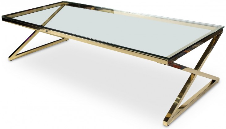 Trance Stacy Brass Rectangular Cocktail Table