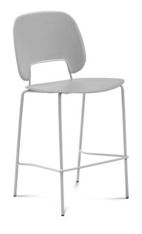 Traffic Light Grey Lacquered Steel White Frame Stacking Chair