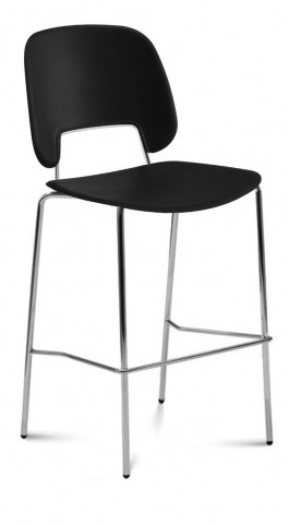 Traffic Black Lacquered Steel Chrome Frame Stacking Chair