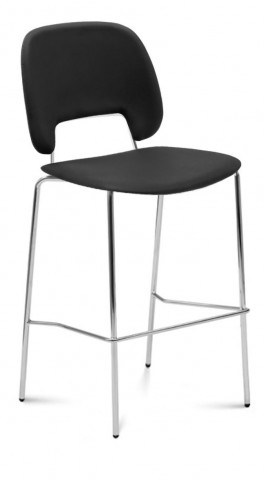 Traffic Skill Black Lacquered Steel Chrome Frame Stacking Chair