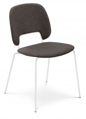Traffic Flirt Brown Lacquered Steel White Frame Stacking Chair Set of 4
