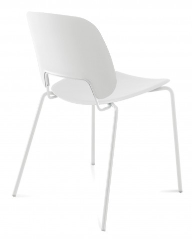 Traffic White Lacquered Steel White Frame Stacking Chair Set of 4