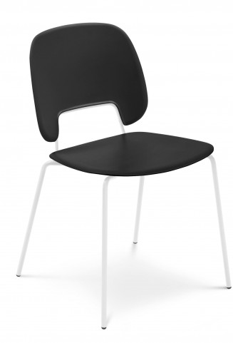 Traffic Black Lacquered Steel White Frame Stacking Chair Set of 4
