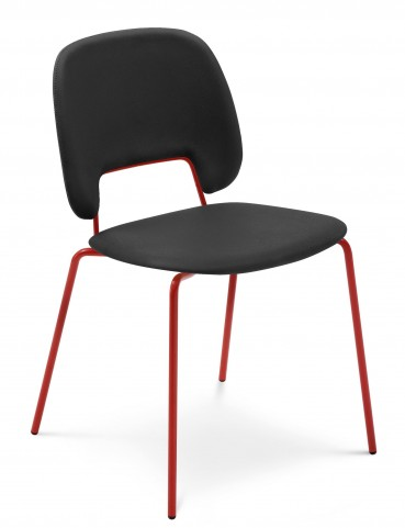 Traffic Skill Black Lacquered Steel Red Frame Stacking Chair Set of 4