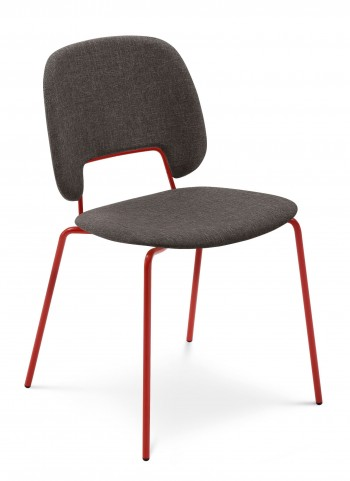 Traffic Flirt Brown Lacquered Steel Red Frame Stacking Chair Set of 4