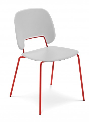 Traffic White Lacquered Steel Red Frame Stacking Chair Set of 4