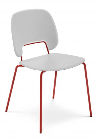 Traffic Light Grey Lacquered Steel Red Frame Stacking Chair Set of 4
