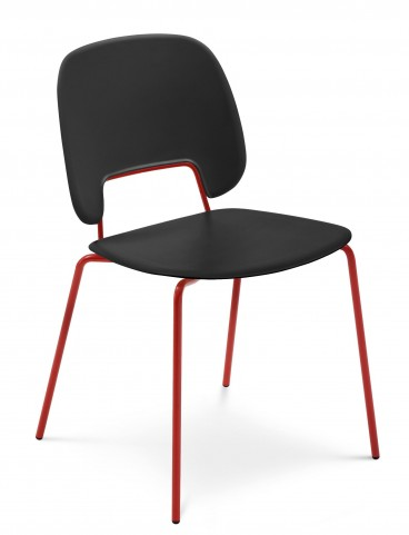 Traffic Black Lacquered Steel Red Frame Stacking Chair Set of 4