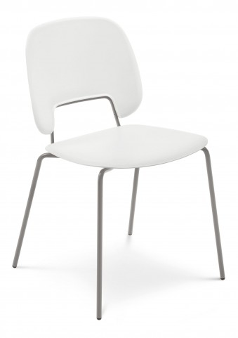 Traffic White Lacquered Steel Sand Frame Stacking Chair Set of 4