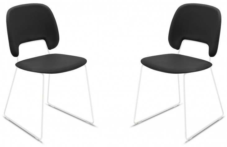 Traffic Skill Black Lacquered Steel White Frame Stacking Chair Set of 2