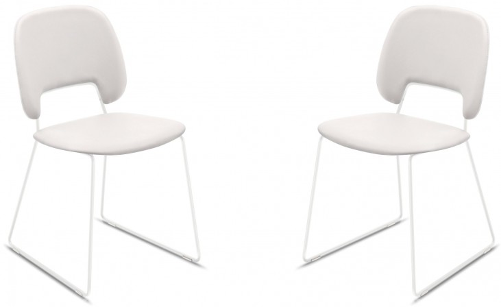 Traffic White Lacquered Steel White Frame Stacking Chair Set of 2