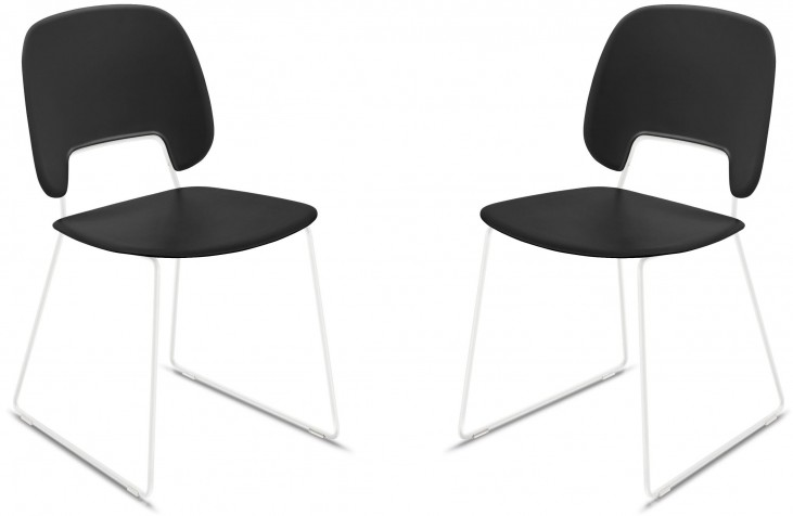 Traffic Black Lacquered Steel White Frame Stacking Chair Set of 2