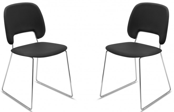 Traffic Skill Black Lacquered Steel Chrome Frame Stacking Chair Set of 2
