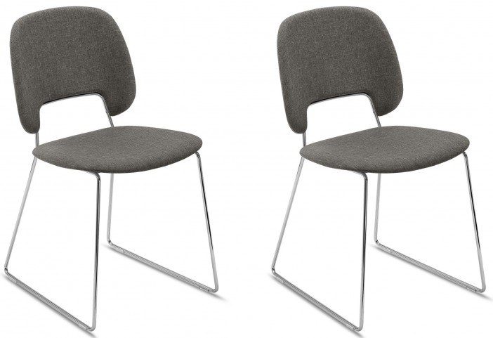 Traffic Flirt Brown Lacquered Steel Chrome Frame Stacking Chair Set of 2