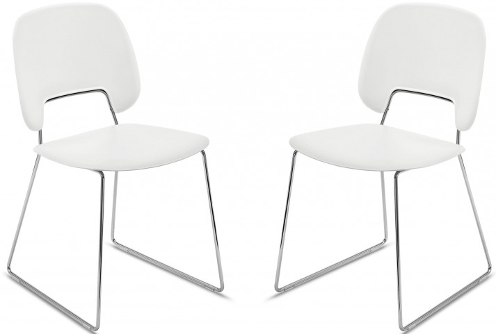 Traffic White Lacquered Steel Chrome Frame Stacking Chair Set of 2