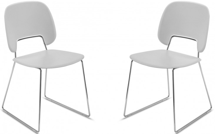 Traffic Light Grey Lacquered Chrome Frame Steel Stacking Chair Set of 2