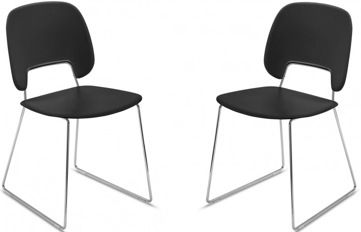 Traffic Black Lacquered Chrome Frame Steel Stacking Chair Set of 2