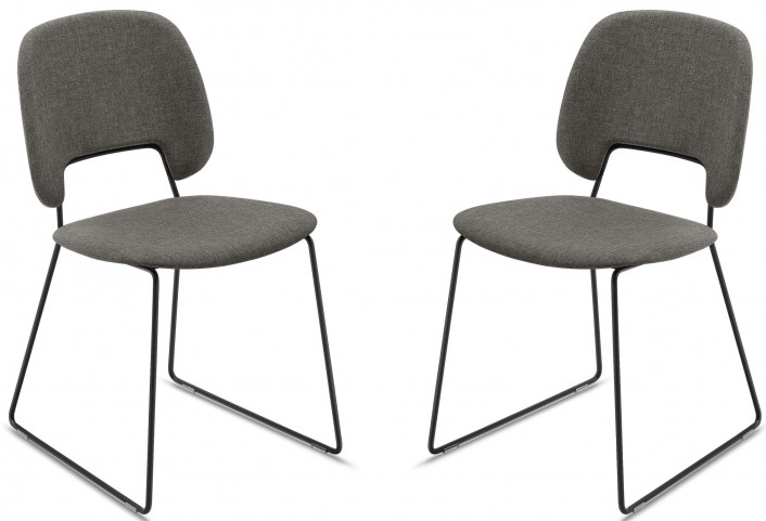 Traffic Flirt Brown Lacquered Steel Black Frame Stacking Chair Set of 2