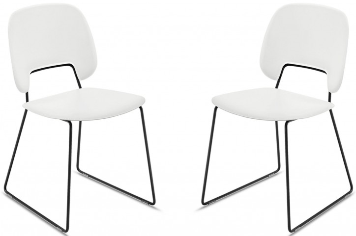 Traffic White Lacquered Steel Black Frame Stacking Chair Set of 2