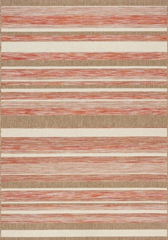Trellis Red/Brown/Beige Stripes Flatweave Medium Rug