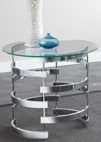 Tayside Glass Top Round End Table