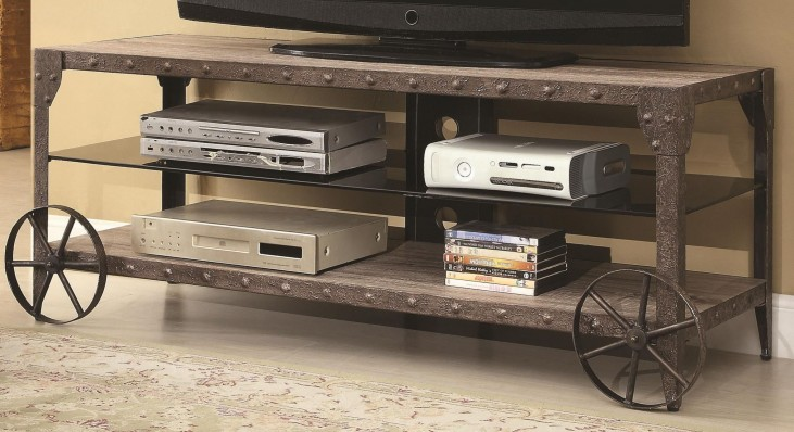 700216 Rustic Media Console with Wagon Wheel Detail