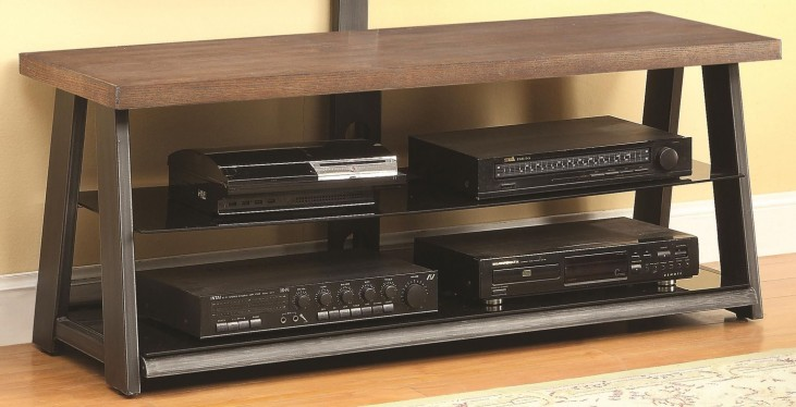700217 Media Console with Black Glass Shelves