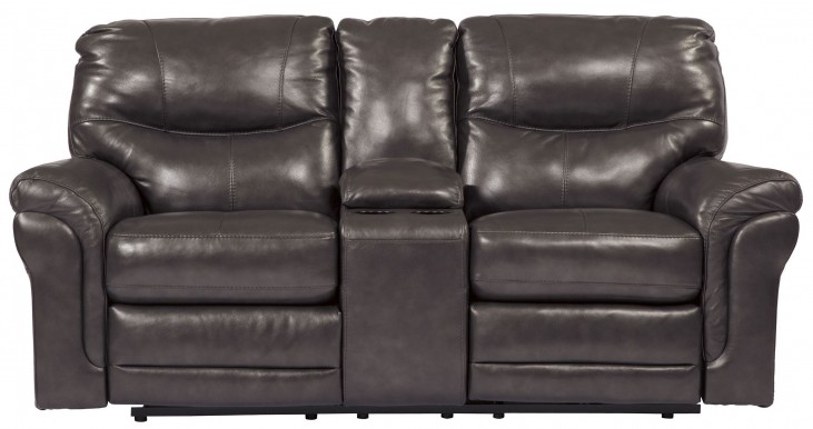 Banetonville Metal Double Reclining Console Loveseat