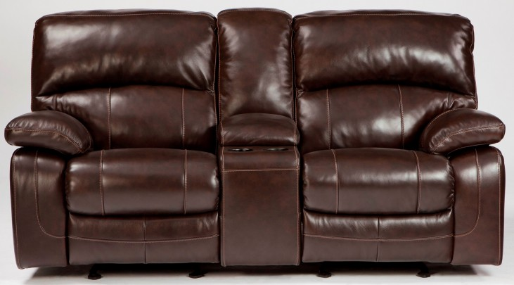Damacio Dark Brown Glider Power Reclining Loveseat with Console