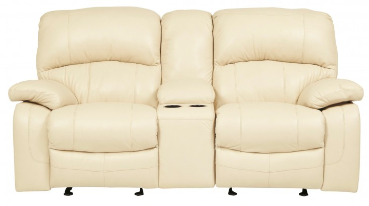 Damacio Cream Glider Reclining Loveseat with Console