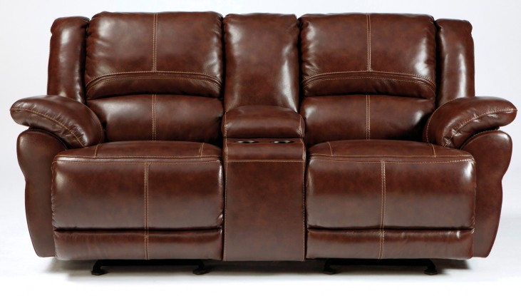 Lenoris Coffee Glider Power Reclining Loveseat with Console
