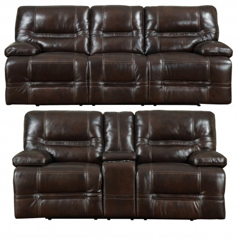 Overland Chocolate Leather Power Reclining Living Room Set