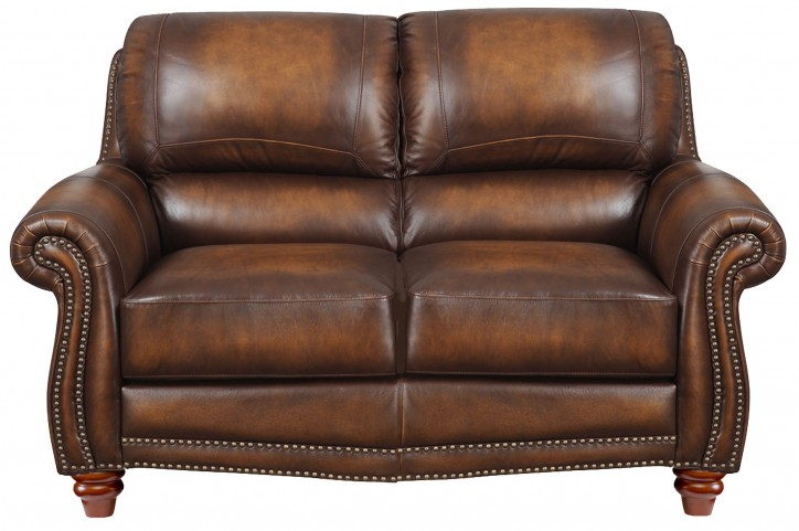 James Monaco Leather Loveseat