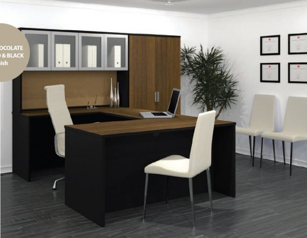 Pro-Concept U-Shaped Workstation With High Hutch In Chocolate & Black