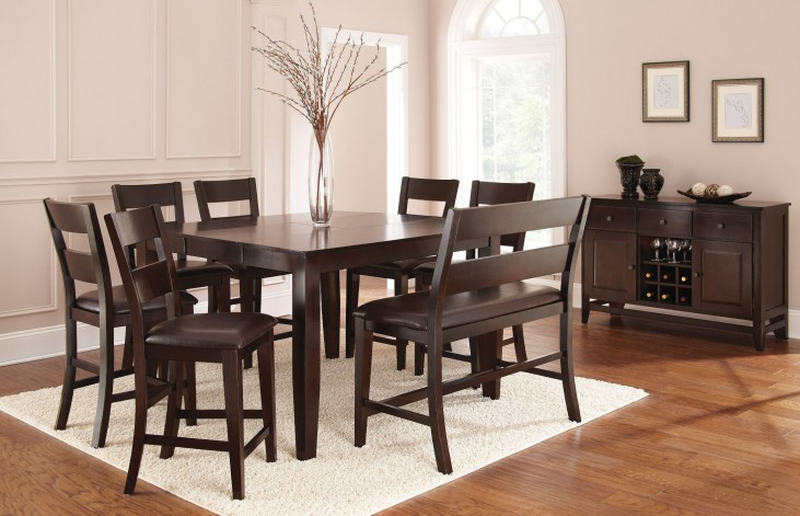 Victoria Dark Espresso Extendable Rectangular Counter Height Dining Room Set