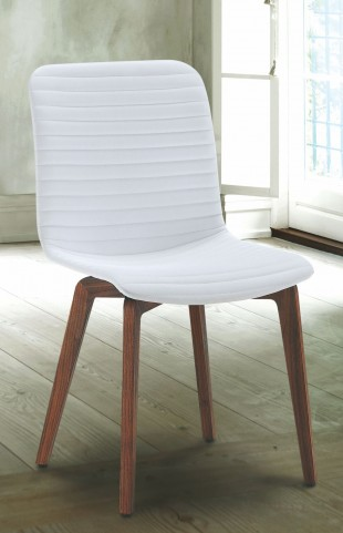 Vela White Leather Dining Chair