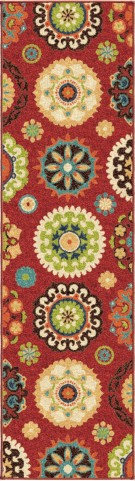 "Veranda Hubbard Brick Red Runner 96"" Rug"