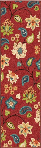"Veranda Garden Chintz Red Runner 96"" Rug"