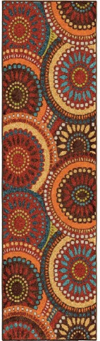 Orian Rugs Indoor/Outdoor Circles Merrifield Collage Multi Runner Rug