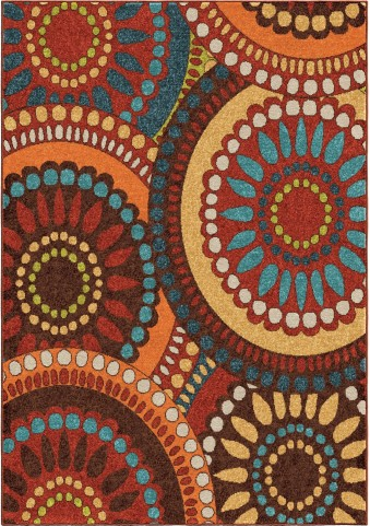 Orian Rugs Indoor/Outdoor Circles Merrifield Collage Multi Area Medium Rug