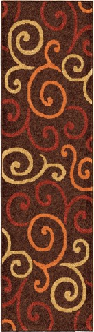 Orian Rugs Indoor/Outdoor Scroll Semi Swirls Brown Runner Rug