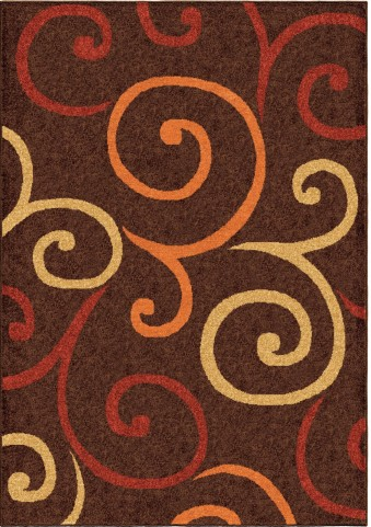 Orian Rugs Indoor/Outdoor Scroll Semi Swirls Brown Area Medium Rug